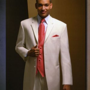 Ivory tuxedo and red tie