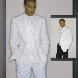 Man wearing white tuxedo with with white pants and black pants