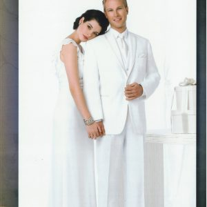 Man wearing white tuxedo with a woman in a white dress